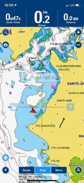 Carte Navionics, avec les positions des cibles AIS