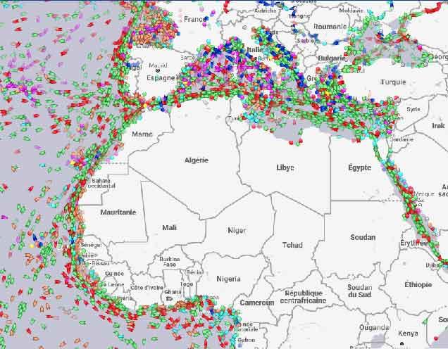 Trafic de bateaux en Atlantique et Méditerranée le 11/07/19