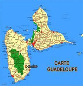 Carte de l'ile de la Guadeloupe
