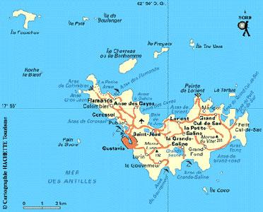 Carte de l'ile de Saint-Barthélémy