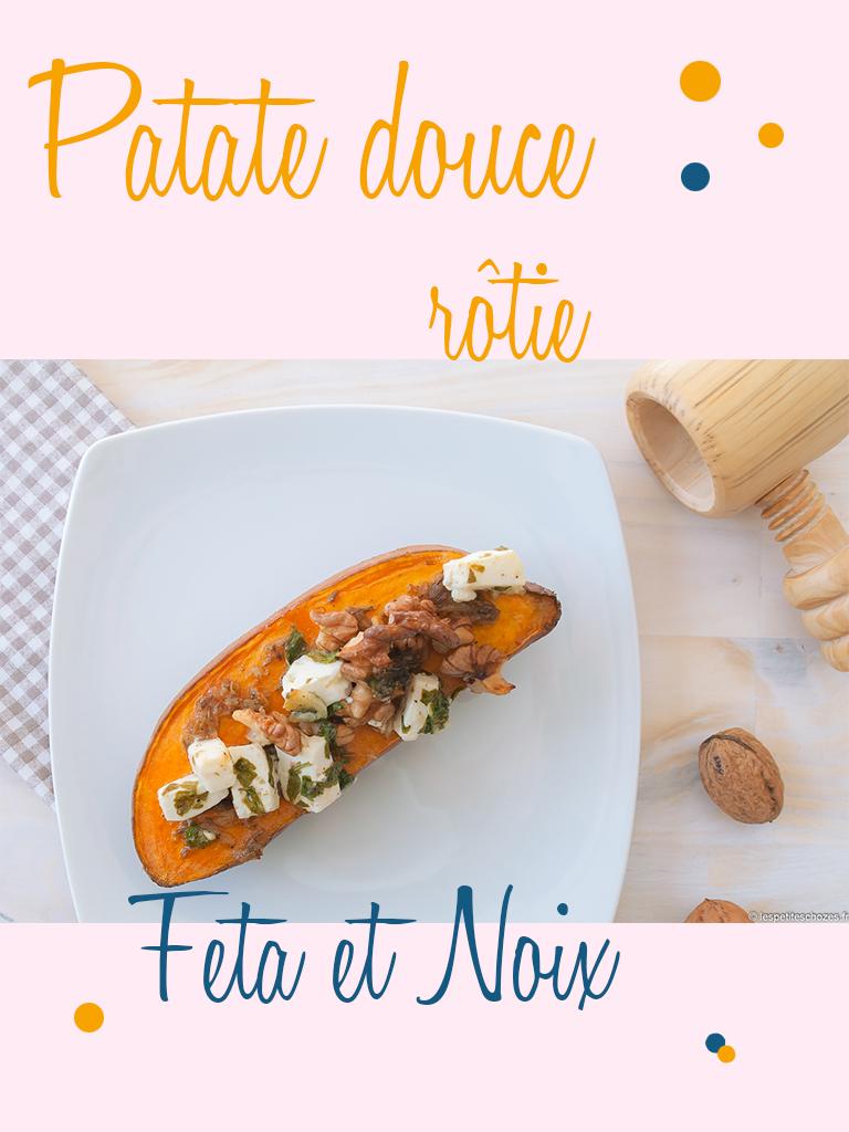 Patate douce rôtie, feta et noix - Les petites chozes