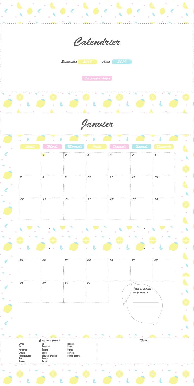 Calendrier familial septembre 2018 à août 2019. A imprimer. Les petites chozes