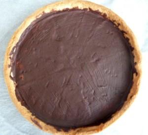 chocolat au fond de la pâte sucrée