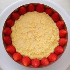 Génoise posée entre les fraises