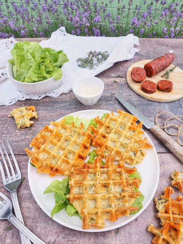 gaufres salées courgettes chorizo