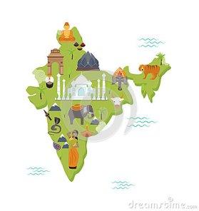 illustration-plate-de-vecteur-de-symboles-de-pays-de-voyage-de-forme-d-inde-nationale-traditionnelle-de-carte-70531079