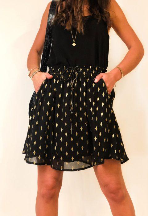 jupe noir courte pois or boutique les piplettes