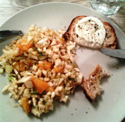 Salade de fenouil à l'orange, mozzarella de bufflone