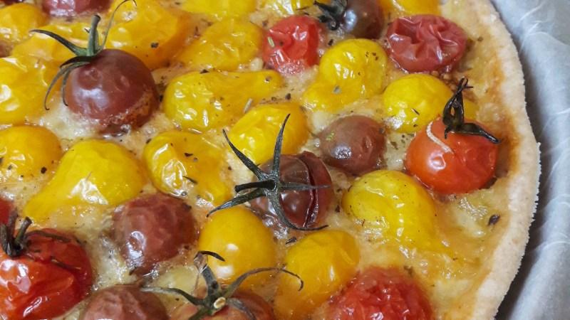 Tarte tomate mozza multicolore
