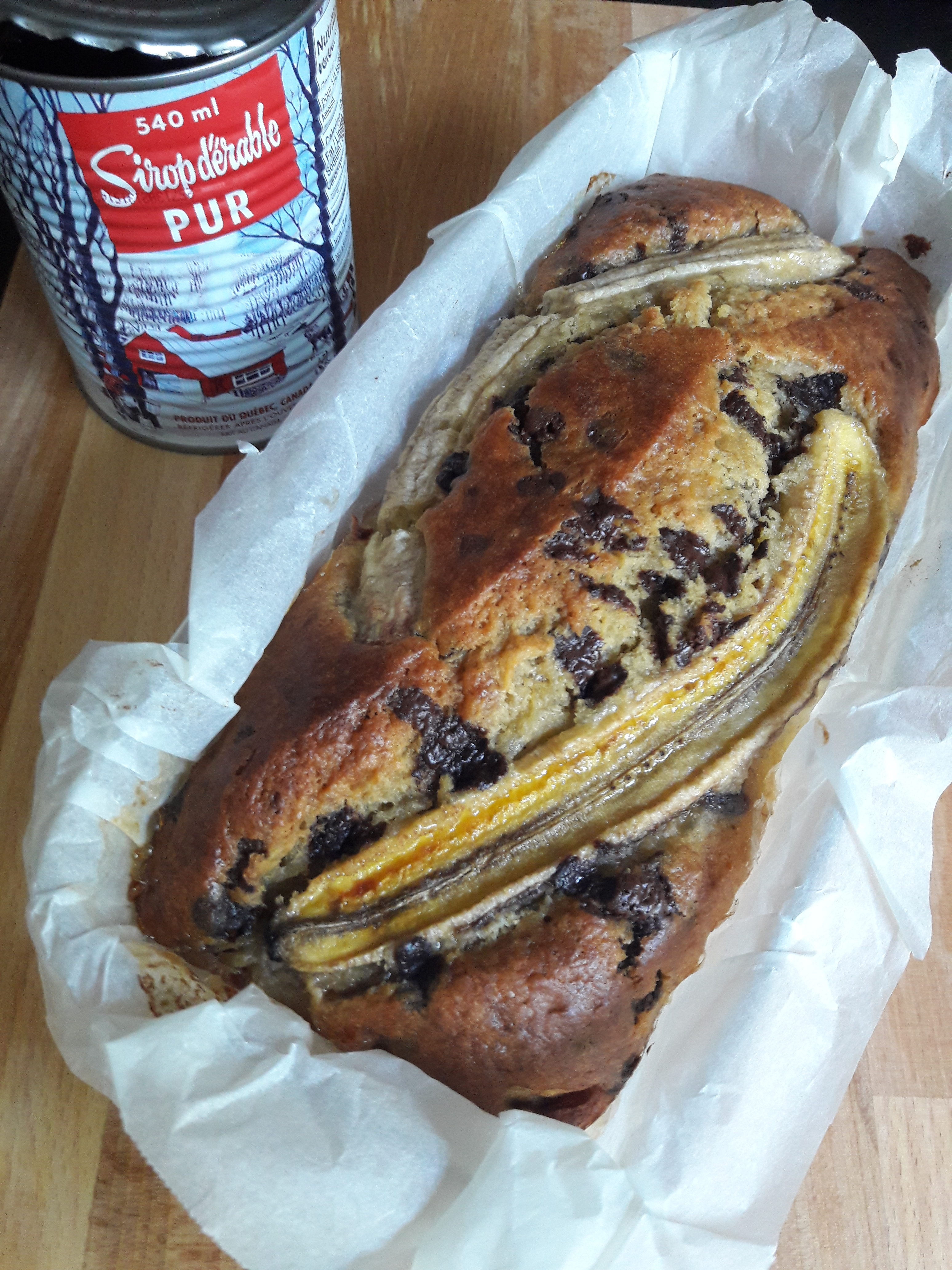 Banana bread au sirop d'érable et pépites de chocolat