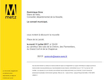 Invitation mairie Metz