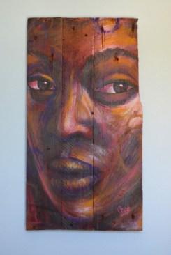"""""""Camélia"""", acrylique sur bois, 60 x 32,5 cm"""