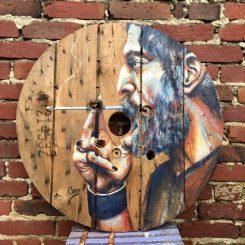 peinture-bois-touret-tableau-rond-acrylique-portrait-homme-barbu