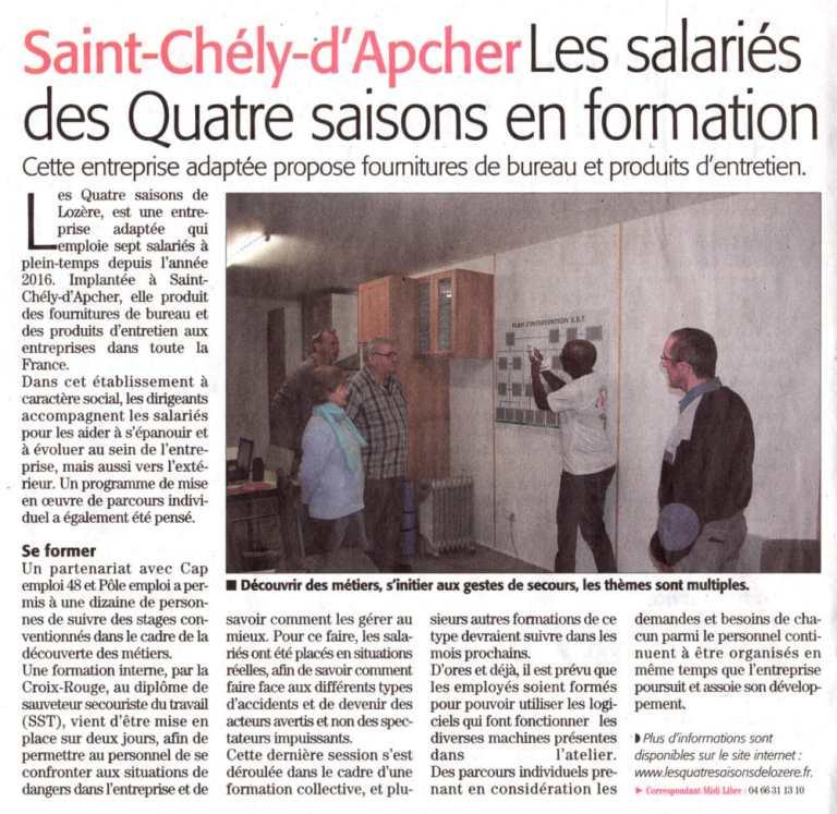 Saint-Chély-d'Apcher | Les salariés des Quatre Saisons en formation