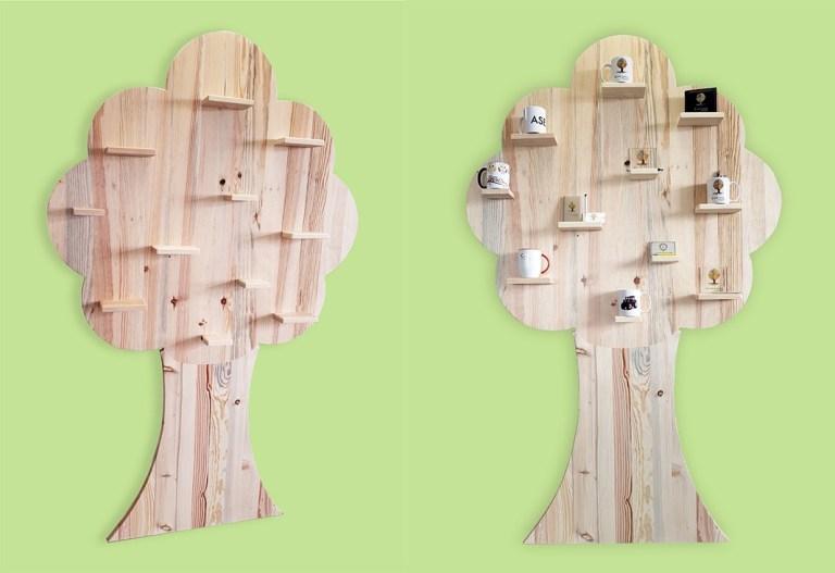Read more about the article Un arbre étagère pour l'exposition de nos réalisations