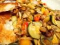 Poêlée de légumes au balsamique, galettes de pommes de terre