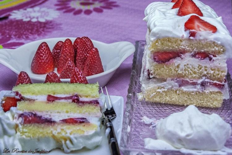 Gâteau aux Fraises et à la Mousse de Fromage Blanc