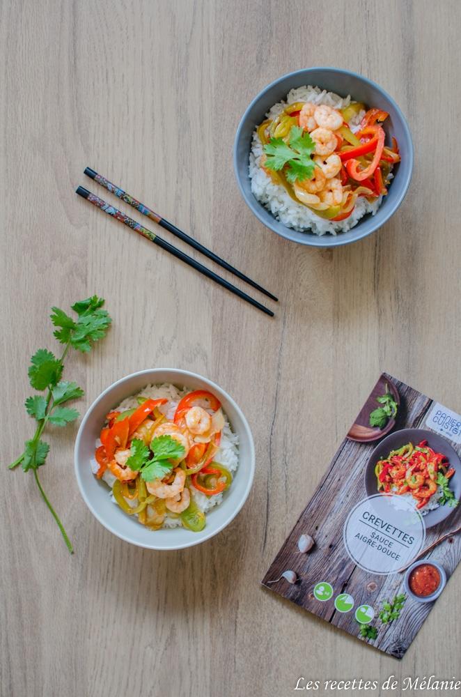 Crevettes sauce aigre-douce et porc à l'ananas avec Panier cuistot d'Ooshop