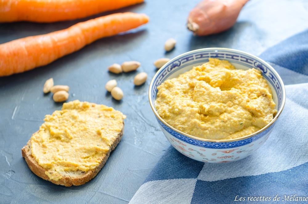 Tartinade de carottes aux beurre de cacahuètes