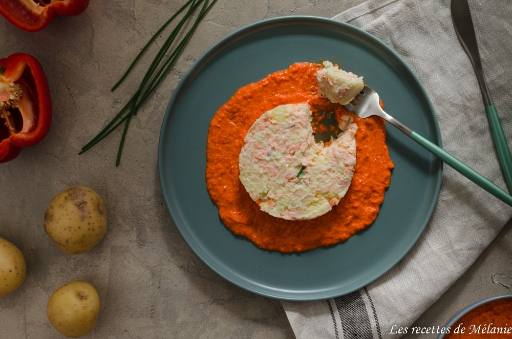 Brandade de saumon et son coulis de poivrons
