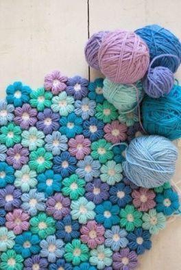 Tapis fleurs bleues