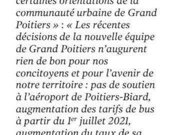 Les Républicains de la Vienne dénoncent les choix de Grand Poitiers. Centre-Presse du 20 Mars 2021