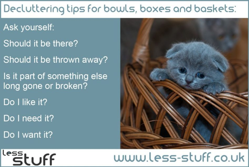 declutter bowls boxes and baskets
