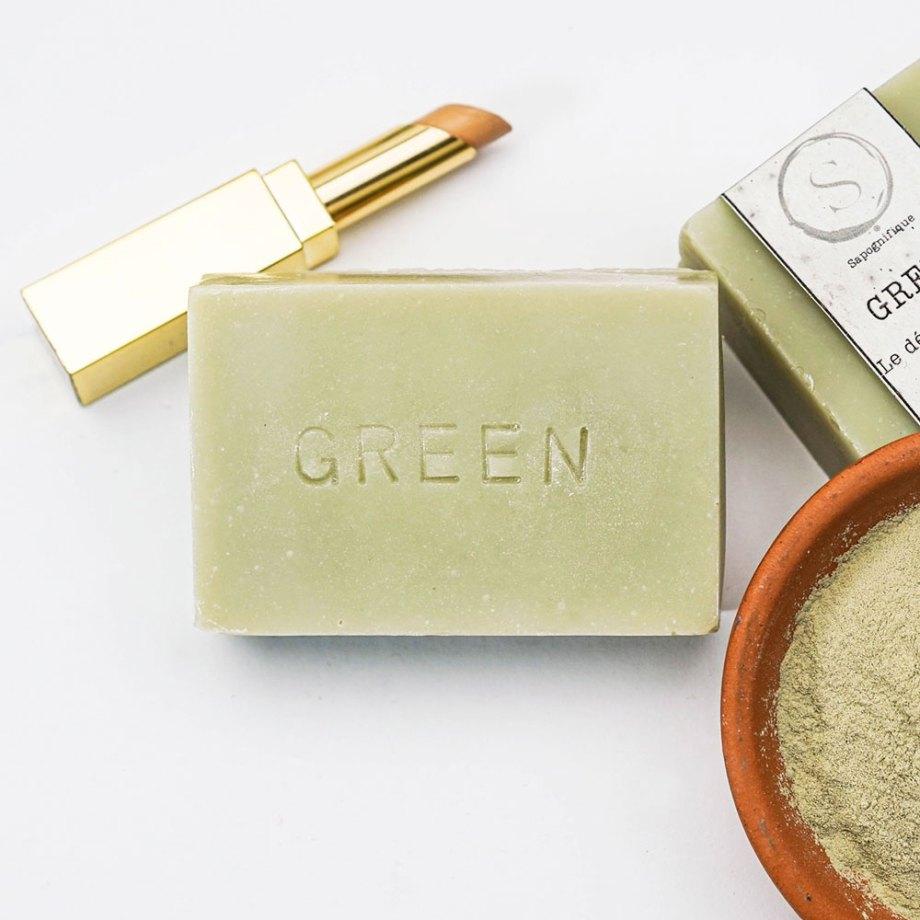 Green- Savon nettoyant - Sapognifique - Savon solide saponifié à froid, surgras, naturel et bio, zéro déchet