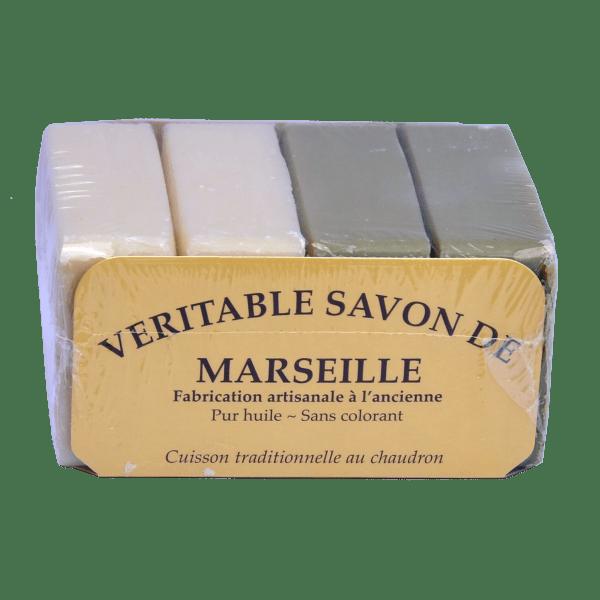 4 Savons de Marseille Traditionnels 2 x 100g végétal blanc + 2 x100g vegetal olive verte
