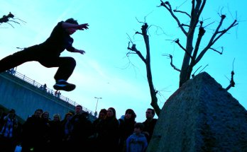 Parkour athlete jumping