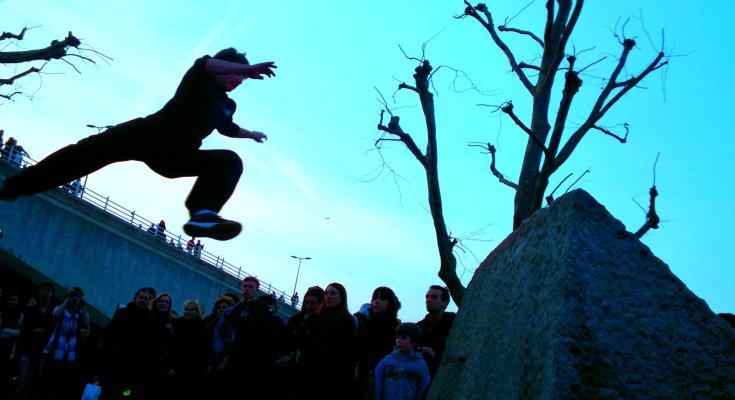 Parkour athlete jumping
