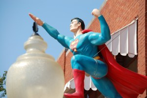 Flying Superman Statue in Metropolis