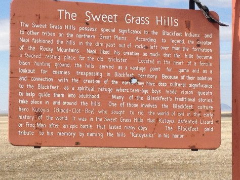 The Sweet Grass Hills road sign