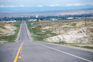 Highway into Worland, WY