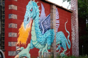 Impressive Dragon mural on a Chinese Restaurant in Oak Creek, Colorado