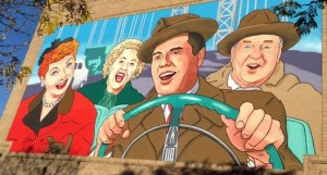 Large Lucy Mural in Jamestown, NY painted by Gary Peters Jr. and Gary Peters Sr.