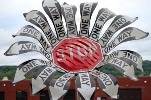 Stop sign flower in Meadville, PA