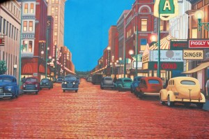 Scene from a River Wall mural in Paducah, KY