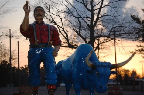 Paul Bunyan and Babe at sunset in Minocqua, WI