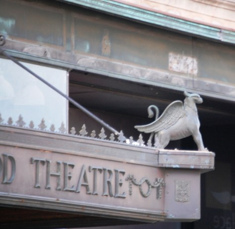 Detail of Gargoyles at the Ironwood Theatre in Ironwood, MI