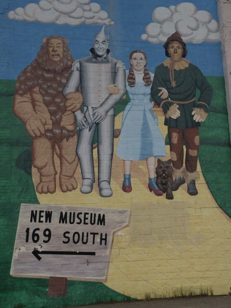 Follow the brown wood sign...and look at the Yellow Brick Road mural