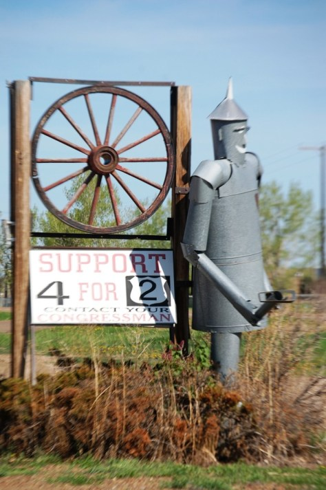 A Tin Man Sign in front of an air conditioning business in Glasgow, Montana