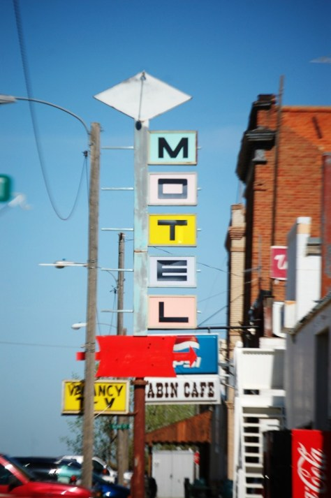 1970s Style Motel sign in the small town of Saco, MT