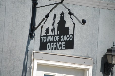 Saco Town Hall - another metal sign