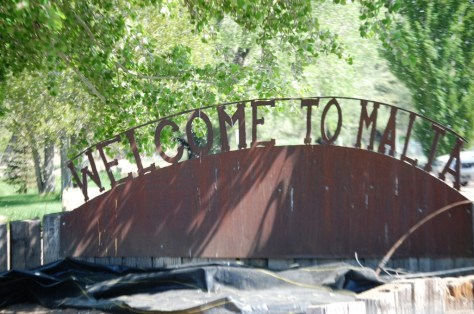 Welcome to Malta, Montana sign.  Most of the towns along the Hi-Line have metal welcome signs.
