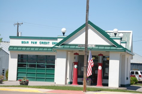 Bear Paw Credit Union in Chinook, Montana uses an old gas station