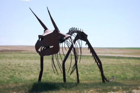 The dinosaur sculpture off of US Highway 2 near Rudyard, made by farmer Byron Wolery of Inverness, MT