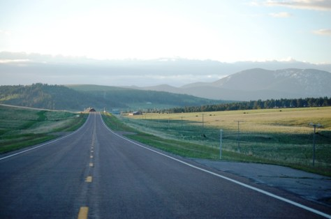 US 89 approaching the Belt Mountains north of Monarch, Montana