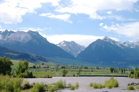 The mountains and the Yellowstone River as seen from US 89