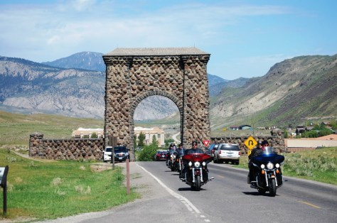 Looking north to Roosevelt Arch and Montana from Yellowstone entrance